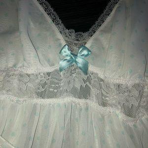 Teal and white polkadot lingerie set